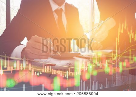 Double Exposure Of Business Team Corporate Organization Meeting Concept And Candlestick Graph, Busin