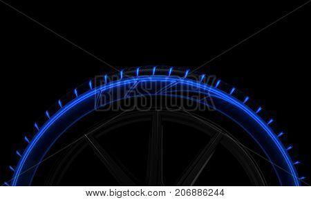 Tire Luminous Tread And Dark Background