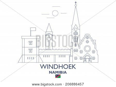 Windhoek Linear City Skyline Namibia. Famous places