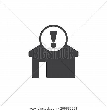 Home alert icon vector, filled flat sign, solid pictogram isolated on white. House with exclamation mark symbol, logo illustration.