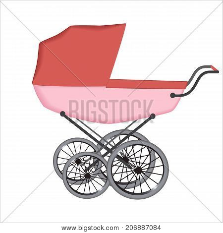 The  buggy or carriage for baby on white background