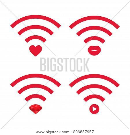Wifi fashion vlog logo set. Stock vector illustration for video blogging broadcast social media channel live stream in glamour style