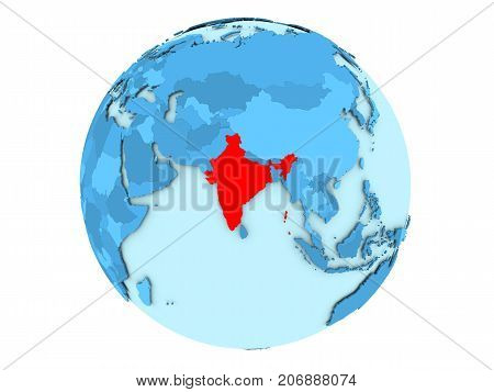 India On Blue Globe Isolated