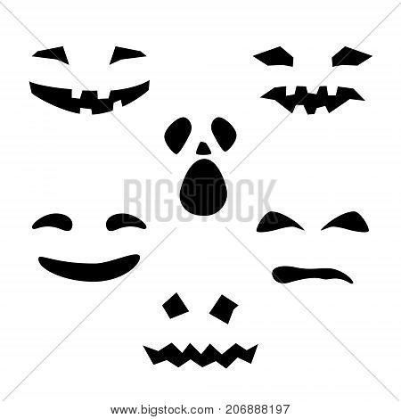 Halloween Holiday Silhouette of Scary Smug Smiles and Eyes for Pumpkin on White Background Vector Illustration