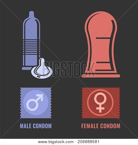 Female and male condoms. Modern contraception method. Contraceptive icons set. Safe sex, disease prevention and birth control. Planning pregnancy. Flat vector illustration on a dark grey background