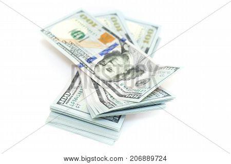 Hundred Dollars Isolated On White Background