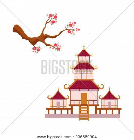 Asian japan china oriental symbols concept set. Blooming sakura branch with flowers, traditional pagoda building temple. Isolated flat vector illustration on a white background
