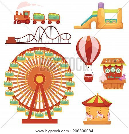 Amusement park set - Ferris wheel, carousel, rollercoaster, train, balloon, bouncy castle, shooting gallery, cartoon vector illustration isolated on white background. Cartoon amusement park elements