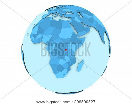 Rwanda On Blue Globe Isolated