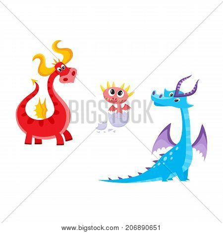 vector flat cartoon funny blue, marine and red fire adult, mature dragons with horns and wings and baby hatching from egg cute fairy dragon characters set. Isolated illustration on a white background.