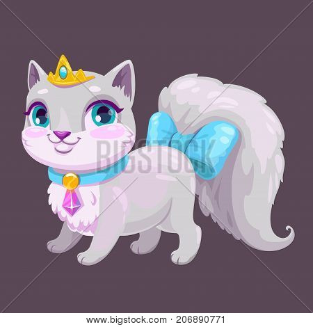 Little cute cartoon kitty princess. Vector adorable kitten icon. Fancy cat illustration.
