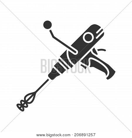 Hand held cement mixer glyph icon. Silhouette symbol. Paint mixer. Negative space. Vector isolated illustration