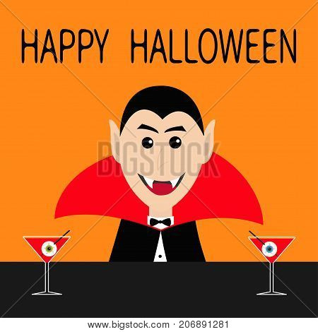 Happy Halloween. Count Dracula head face wearing black and red cape. Cute cartoon smiling vampire character fangs. Bar counter Martini glass with blood eyeball. Flat design. Orange background. Vector