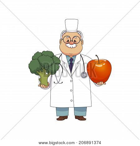 vector flat cartoon male doctor nurce in white medical clothing , glasses holding huge big apple and broccoli .Adult character. Isolated illustration on a white background.