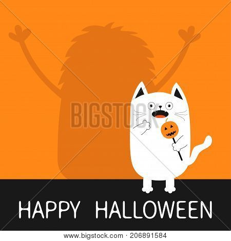 Happy Halloween. Monster silhouette wall shadow hands up. Spooky frightened white cat holding pumpkin face on stick. Open mouth. Funny Cute cartoon baby character. Flat design Orange background Vector