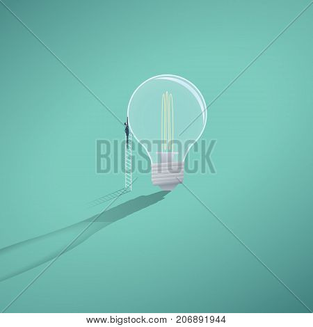 Business creativity and finding solution vector concept with businessman standing on steps trying to get some new ideas, innovations, inventions. Eps10 vector illustration.