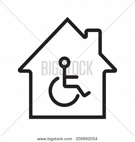 House with special facilities linear icon. Invalids residence thin line illustration. Handicap hospital contour symbol. Vector isolated outline drawing