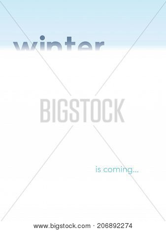 Winter frozen cold vector landscape with blizzard conditions, snow and wind. Christmas or New year card template background. Eps10 vector illustration.