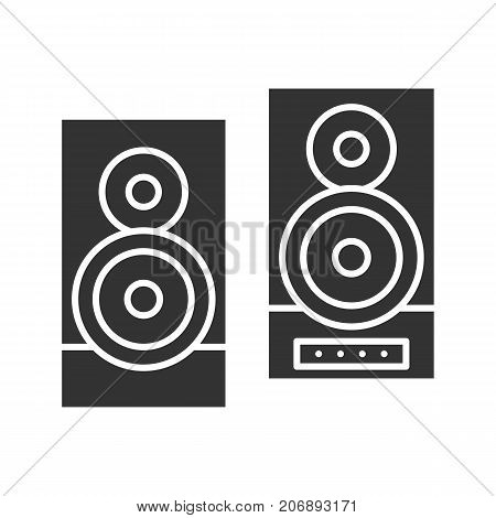 Stereo system glyph icon. Silhouette symbol. Loudspeakers. Negative space. Vector isolated illustration