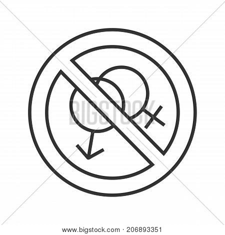 Prohibition circle with male and female signs linear icon. Thin line illustration. No sex forbidden sign. Stop contour symbol. Vector isolated outline drawing