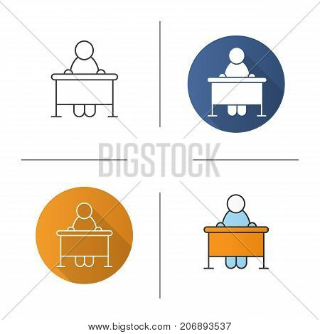 Pupil icon. Flat design, linear and color styles. School student sitting at desk. Isolated vector illustrations