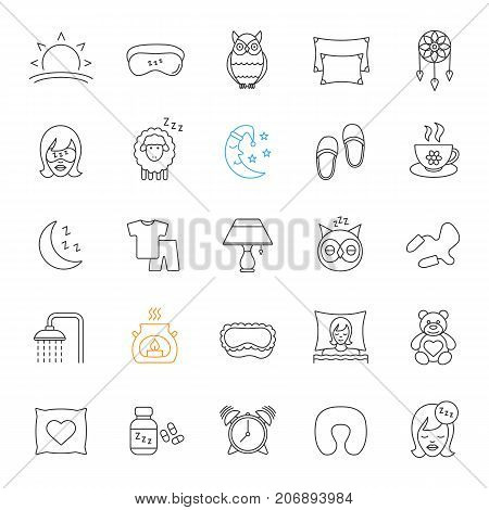 Sleeping accessories linear icons set. Thin line contour symbols. Pillows, sleeping slippers, pills, earplugs, dreamcatcher, alarm clock, pajamas. Isolated vector outline illustrations