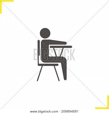 Pupil glyph icon. Silhouette symbol. School student sitting at desk. Negative space. Vector isolated illustration