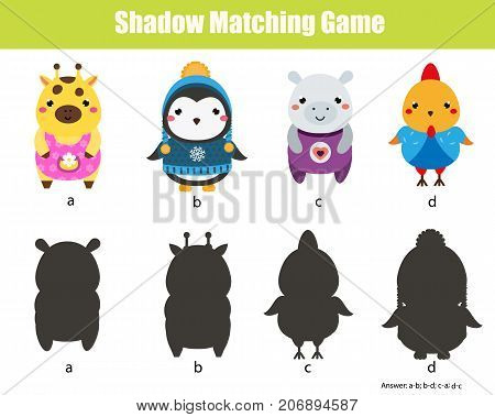 Shadow matching game for children. Find the right shadow. Activity for preschool kids with cute animals