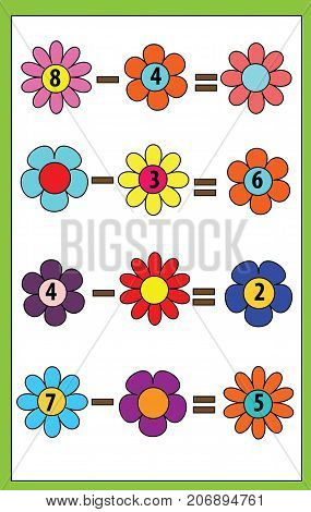 Math educational game for children. Counting equations. subtraction worksheet with flowers