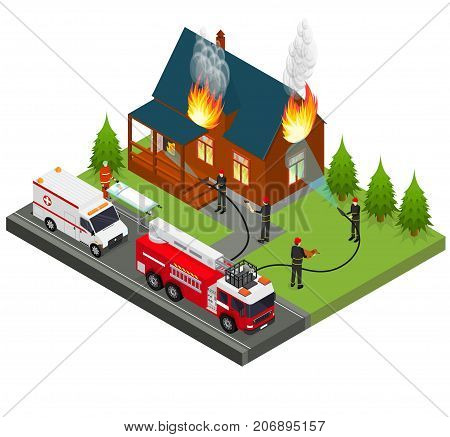 Firefighters Extinguish Fire at House Isometric View Emergency Service Protection Concept. Vector illustration of Firemans Quench Flame at Home