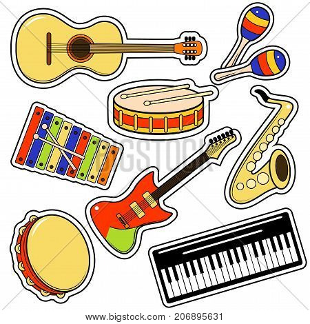 Musical Instrument and Equipment Sticker Set on a White Background Include of Maraca, Tambourine and Keyboard. Vector illustration of Musical Instruments and Equipments Stickers