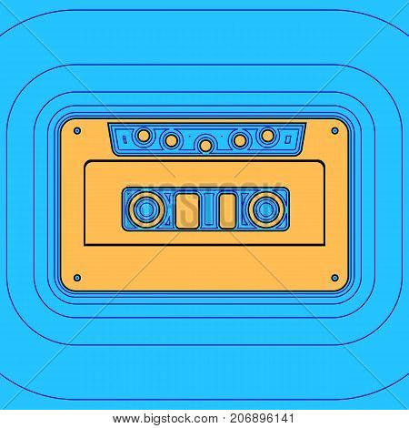 Cassette icon, audio tape sign. Vector. Sand color icon with black contour and equidistant blue contours like field at sky blue background. Like waves on map - island in ocean or sea.
