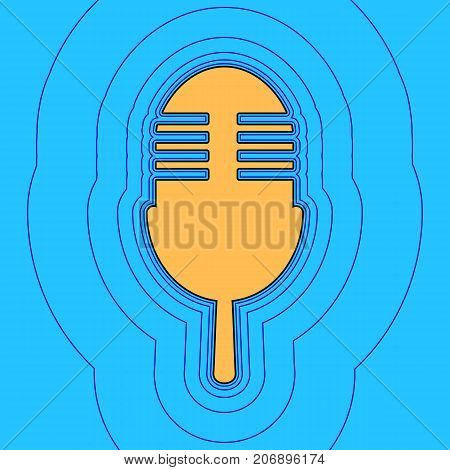 Retro microphone sign. Vector. Sand color icon with black contour and equidistant blue contours like field at sky blue background. Like waves on map - island in ocean or sea.