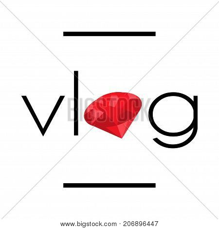 Vlog video blogging logo with red ruby element. Stock vector illustration for online broadcast social media channel live stream