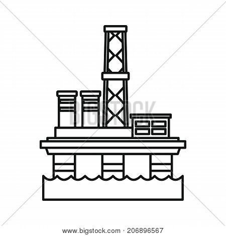 Oil refinery in sea icon. Black outline illustration of Oil refinery in sea vector icon for web isolated on white background