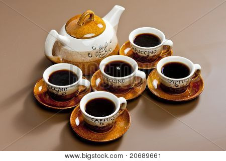 still life of coffee cups and coffeepot poster
