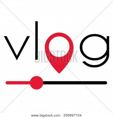 Vlog video blogging logo with red element. Stock vector illustration for online broadcast social media channel live stream