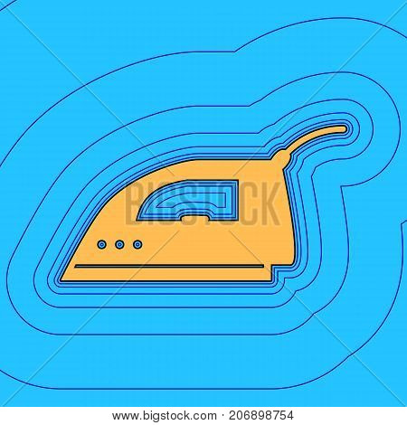 Smoothing Iron sign. Vector. Sand color icon with black contour and equidistant blue contours like field at sky blue background. Like waves on map - island in ocean or sea.