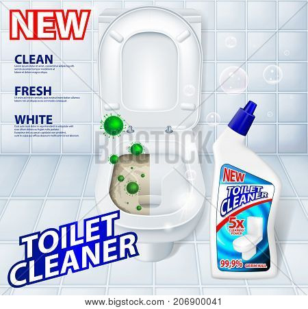 Toilet antibacterial, detergent cleaner ad poster including green microbes and soap bubbles. Realistic Toilet Cleaner gel Plastic package. 3d vector illustration EPS 10