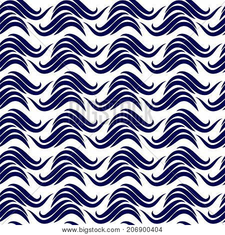 Abstract waves seamless pattern. Stock vector illustration of geometric background with dark blue elements on white backdrop.