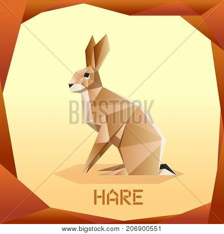 Vector image of the Origami brown Hare