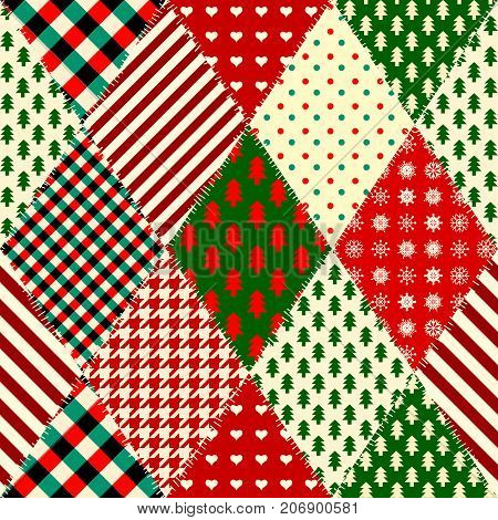 Seamless Christmas background in patchwork style. Quilting design pattern with rhombuses shapes.
