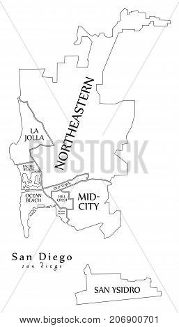 Modern City Map - San Diego City Of The Usa With Boroughs And Titles Outline Map