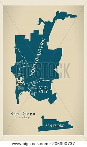 Modern City Map - San Diego City Of The Usa With Boroughs And Titles