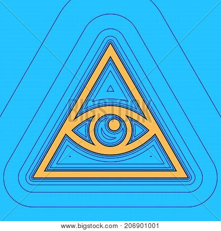 All seeing eye pyramid symbol. Freemason and spiritual. Vector. Sand color icon with black contour and equidistant blue contours like field at sky blue background. Like waves on map - island in ocean or sea.