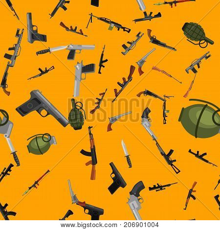 military gun seamless pattern, automatic and hand weapon in magazine barrel with bullets for protection shoting or war texture, handgun for hunting and police equipment background vector illustration.