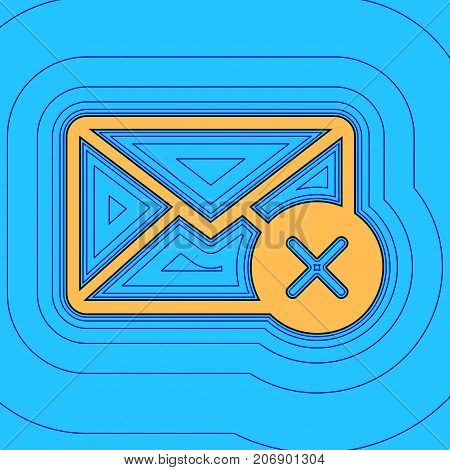Mail sign illustration with cancel mark. Vector. Sand color icon with black contour and equidistant blue contours like field at sky blue background. Like waves on map - island in ocean or sea.