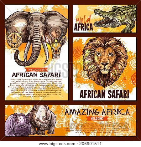 Wild African animals banners or posters templates for safari adventure or welcome to zoo design. Vector sketch elephant, alligator crocodile or lion and tiger with hippopotamus or rhinoceros