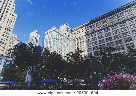 NEW YORK NY - September 3rd 2017: Detail of Herald Square in Midtown Manhattan among Broadway the Sixth Avenue and the West 34th Street