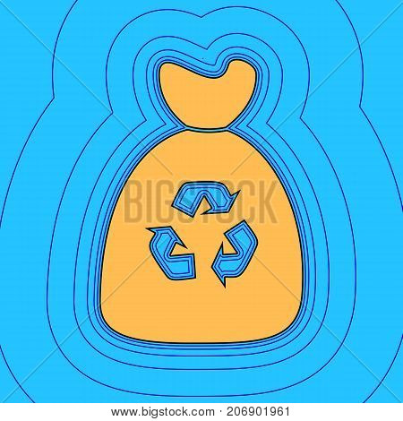 Trash bag icon. Vector. Sand color icon with black contour and equidistant blue contours like field at sky blue background. Like waves on map - island in ocean or sea.